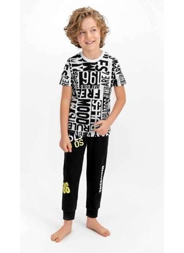 Roly Poly Rolypoly Freedom Nil Yeşili Genç Erkek Kısa Kol Pijama Takımı Beyaz